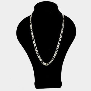 Other - 14K GP Concave Textured Figaro Chain Necklace